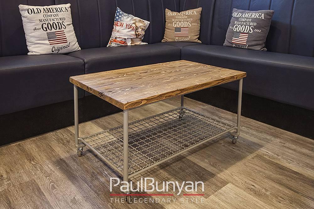 Stolik kawowy ze starego drewna i metalu na kółkach