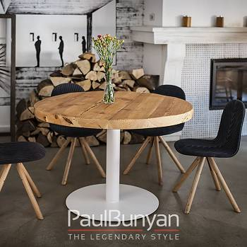 Round reclaimed wood and metal table LAS VEGAS