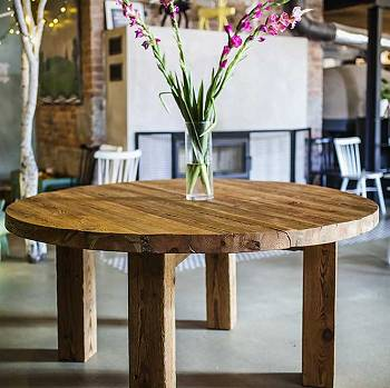 Round reclaimed wood table INDIANA