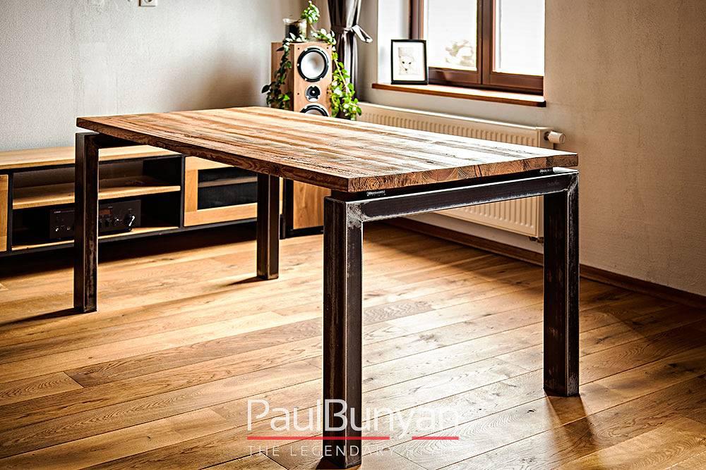 Stół ze starego drewna i metalu San Francisco