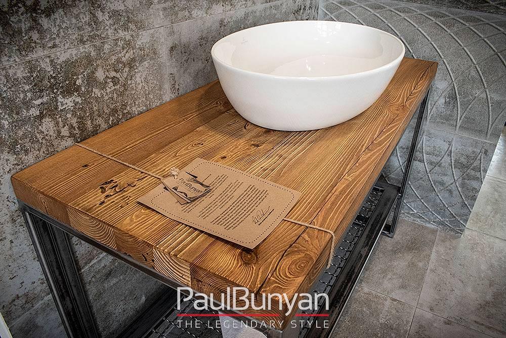 Konsola pod umywalkę ze starego drewna i metalu