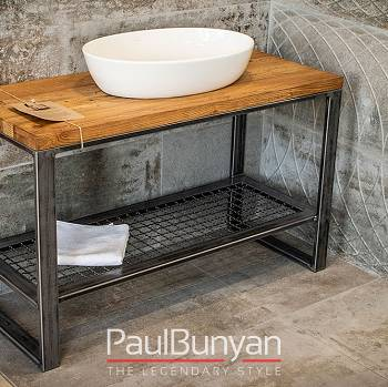 Table for wash basins made of reclaimed wood and metal