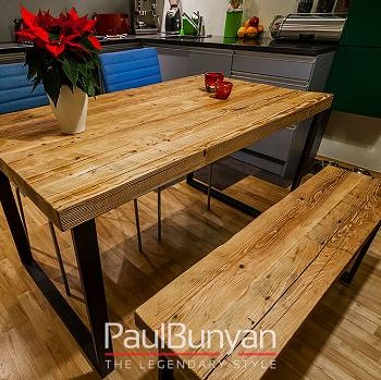 Wooden tabletop made of old hand-hewn wood