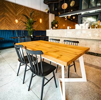 DENVER reclaimed wood and metal dining table