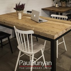 ORLANDO reclaimed wood and black steel dining table