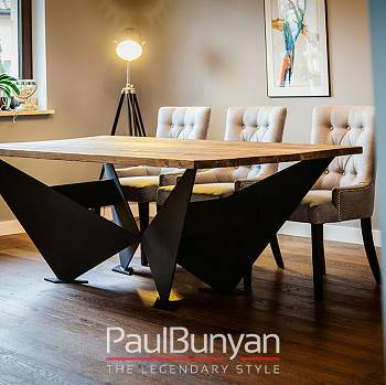 BROOKLYN reclaimed wood and metal dining table