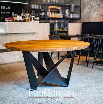 Round reclaimed wood and metal table DALLAS