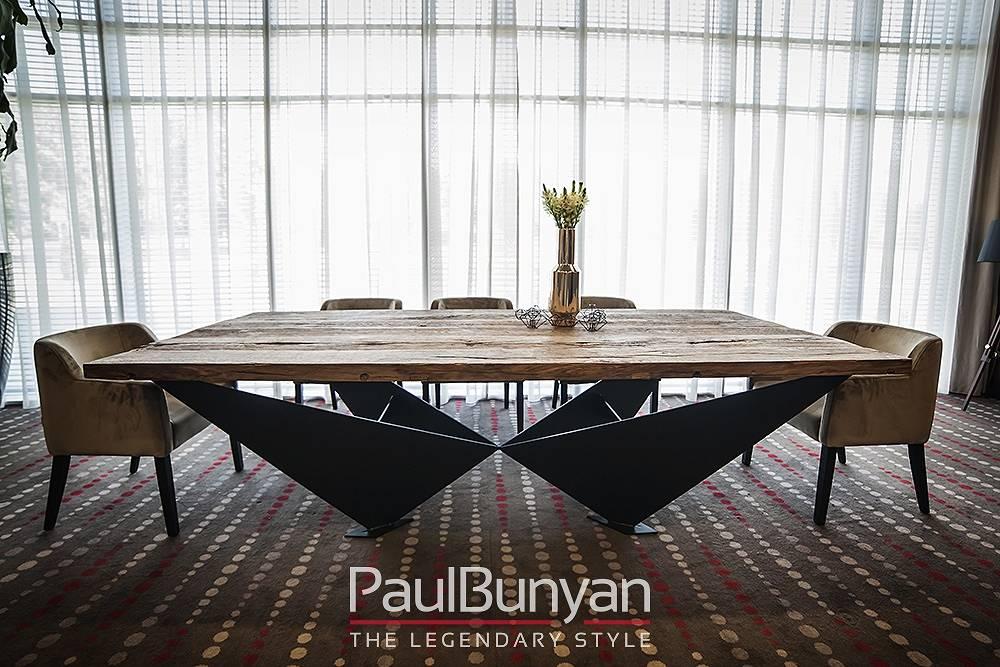 Stół dębowy ze starego drewna i metalu MANHATTAN