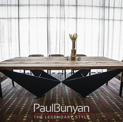MANHATTAN reclaimed oak and metal dining table